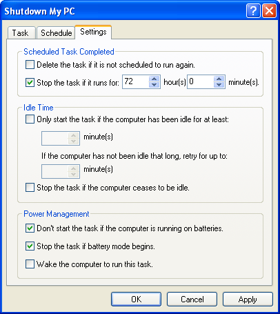 Windows XP Schedule a Task Wizard