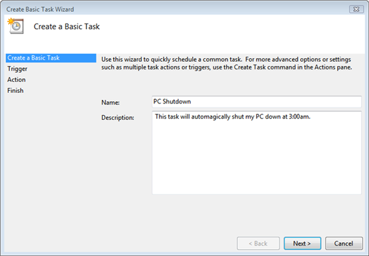 Vista Task Scheduler Task Name