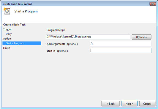 Vista Task Scheduler Start a Program