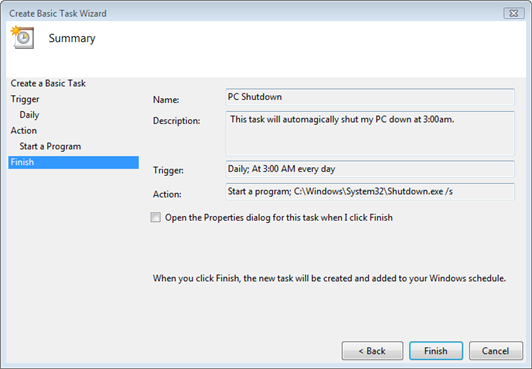 Vista Task Scheduler Summary